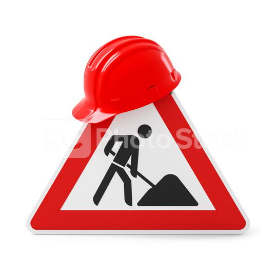 Under construction, road sign and red safety helmet, isolated on white background. 3D rendering  : Stock Photo or Stock Video Download rcfotostock photos, images and assets rcfotostock | RC-Photo-Stock.: