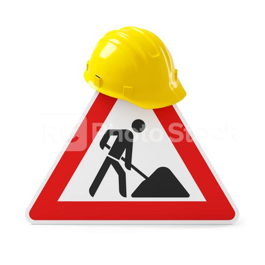 Under construction, road sign and yellow safety helmet, isolated on white background. 3D rendering  : Stock Photo or Stock Video Download rcfotostock photos, images and assets rcfotostock   RC-Photo-Stock.: