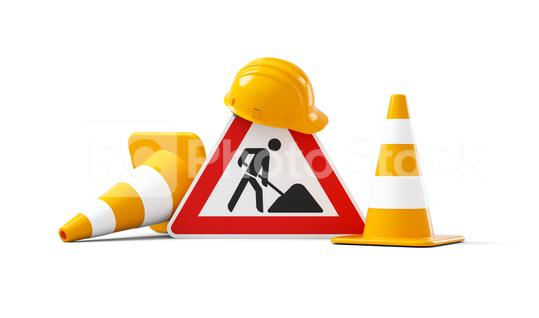 Under construction, road sign, traffic cones and orange safety helmet, isolated on white background. 3D rendering  : Stock Photo or Stock Video Download rcfotostock photos, images and assets rcfotostock | RC-Photo-Stock.: