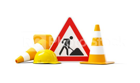 Under construction, road sign, traffic cones and safety helmet, isolated on white background. 3D rendering  : Stock Photo or Stock Video Download rcfotostock photos, images and assets rcfotostock | RC-Photo-Stock.: