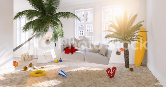 Vacation at home with Zero Gravity Sofa hovering over the beach and palm trees in the living room at Coronavirus Lockdown  : Stock Photo or Stock Video Download rcfotostock photos, images and assets rcfotostock | RC-Photo-Stock.:
