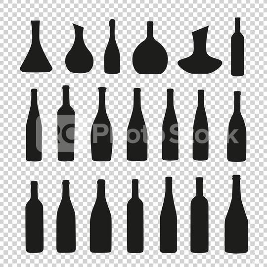 vector bottles and glasses silhouette icon set on checked transparent background. Vector illustration. Eps 10 vector file.  : Stock Photo or Stock Video Download rcfotostock photos, images and assets rcfotostock | RC-Photo-Stock.: