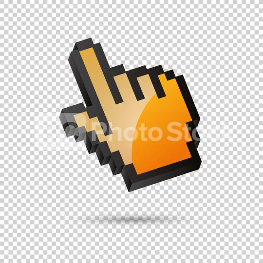 vector hand arrow 3d in orange color on checked transparent background. Vector illustration. Eps 10 vector file.  : Stock Photo or Stock Video Download rcfotostock photos, images and assets rcfotostock | RC-Photo-Stock.: