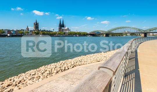 view from the new deutzer rhine boulevard of the old town of cologne  : Stock Photo or Stock Video Download rcfotostock photos, images and assets rcfotostock | RC-Photo-Stock.:
