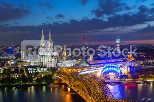 view of Cologne Cathedral in Cologne at night  : Stock Photo or Stock Video Download rcfotostock photos, images and assets rcfotostock | RC-Photo-Stock.: