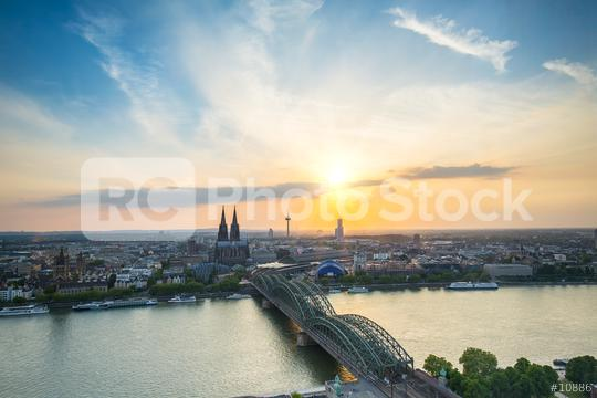 view of Cologne city at sunset  : Stock Photo or Stock Video Download rcfotostock photos, images and assets rcfotostock | RC-Photo-Stock.: