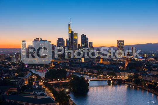 view of Frankfurt am Main at sunset  : Stock Photo or Stock Video Download rcfotostock photos, images and assets rcfotostock | RC-Photo-Stock.: