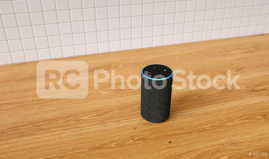 voice controlled smart speaker in the kitchen  : Stock Photo or Stock Video Download rcfotostock photos, images and assets rcfotostock | RC-Photo-Stock.: