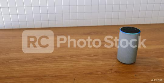 voice controlled smart speaker in the kitchen, with copy space for individual text  : Stock Photo or Stock Video Download rcfotostock photos, images and assets rcfotostock   RC-Photo-Stock.: