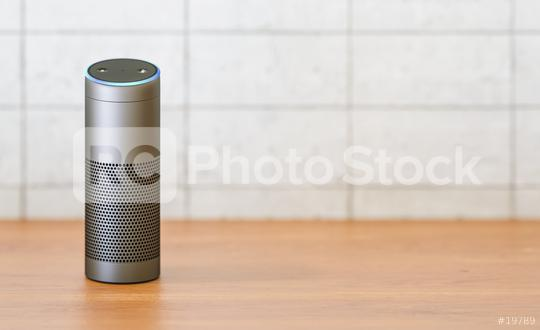voice controlled smart speaker on a table  : Stock Photo or Stock Video Download rcfotostock photos, images and assets rcfotostock | RC-Photo-Stock.: