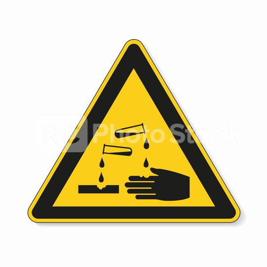 Warning corrosive substances and chemicals. Safety signs, warning Sign or Danger symbol BGV hazard pictogram - corrosive , hazard warning sign corrosive substance on white background. Vector EPS 10.  : Stock Photo or Stock Video Download rcfotostock photos, images and assets rcfotostock | RC-Photo-Stock.: