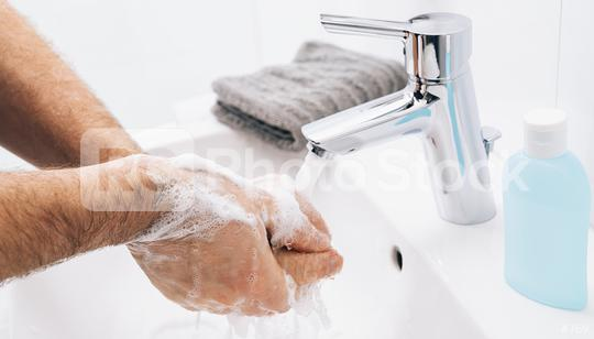 Washing hands rubbing with soap man for corona virus prevention, hygiene to stop spreading coronavirus.  : Stock Photo or Stock Video Download rcfotostock photos, images and assets rcfotostock | RC-Photo-Stock.: