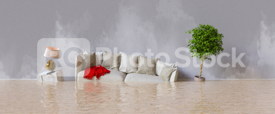 Water damager after flooding in house with furniture floating  : Stock Photo or Stock Video Download rcfotostock photos, images and assets rcfotostock | RC-Photo-Stock.: