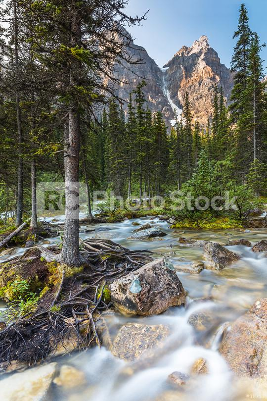Waterfall at the far end of the Moraine Lake in the banff national park canda  : Stock Photo or Stock Video Download rcfotostock photos, images and assets rcfotostock | RC-Photo-Stock.: