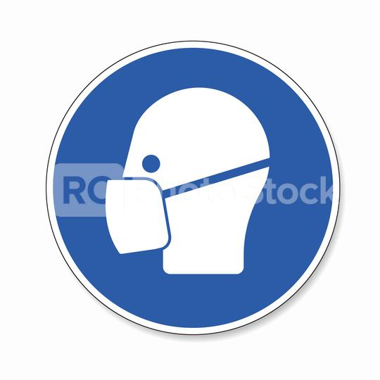 Wear a face mask. Wear dust mask, mandatory sign or safety sign, on white background. Vector illustration. Eps 10 vector file.  : Stock Photo or Stock Video Download rcfotostock photos, images and assets rcfotostock | RC-Photo-Stock.: