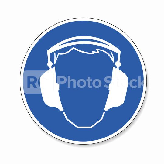 Wear ear protection. Ear protection must be worn, mandatory sign or safety sign, on white background. Vector Eps 10.  : Stock Photo or Stock Video Download rcfotostock photos, images and assets rcfotostock | RC-Photo-Stock.: