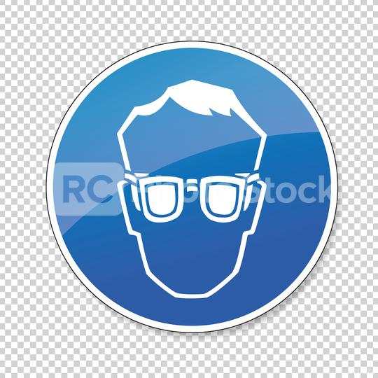 Wear glasses. Protective safety eye protection must be worn, mandatory sign or safety sign, on checked transparent background. Vector illustration. Eps 10 vector file.  : Stock Photo or Stock Video Download rcfotostock photos, images and assets rcfotostock | RC-Photo-Stock.: