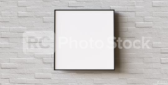 White frame on brick wall background. Modern picture frame, Empty white border frame, Blank picture frame on white wall template minimal concept.  : Stock Photo or Stock Video Download rcfotostock photos, images and assets rcfotostock | RC-Photo-Stock.: