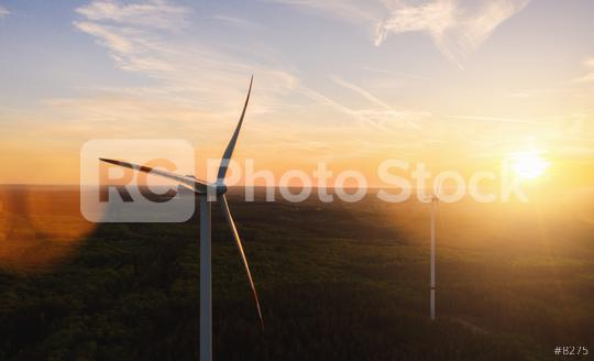 Wind Turbine in the sunset seen from an aerial view   : Stock Photo or Stock Video Download rcfotostock photos, images and assets rcfotostock | RC-Photo-Stock.:
