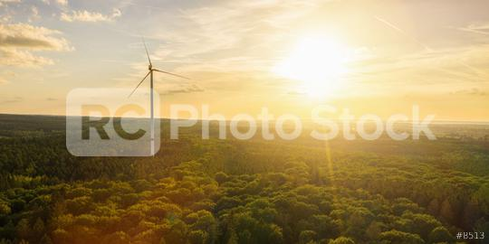 Wind Turbine in the sunset seen from an aerial view - Energy Production with clean and Renewable Energy  : Stock Photo or Stock Video Download rcfotostock photos, images and assets rcfotostock | RC-Photo-Stock.: