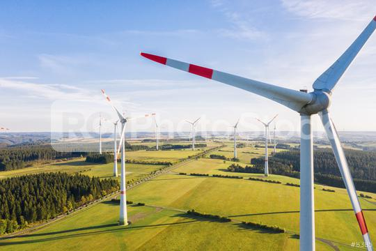 Wind turbine view from drone - Sustainable development, environment friendly, renewable energy concept.  : Stock Photo or Stock Video Download rcfotostock photos, images and assets rcfotostock   RC-Photo-Stock.: