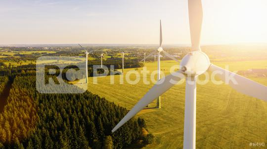 Wind turbines and agricultural fields on a summer day - Energy Production with clean and Renewable Energy - aerial shot, analog image style  : Stock Photo or Stock Video Download rcfotostock photos, images and assets rcfotostock | RC-Photo-Stock.: