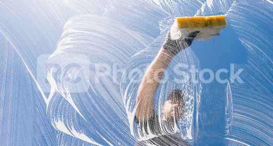 window cleaner cleaning window with sponge on a sunny day   : Stock Photo or Stock Video Download rcfotostock photos, images and assets rcfotostock | RC-Photo-Stock.: