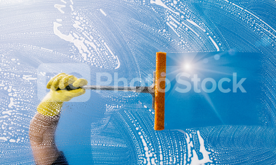 Window cleaner cleans window with  puller and foam  : Stock Photo or Stock Video Download rcfotostock photos, images and assets rcfotostock | RC-Photo-Stock.: