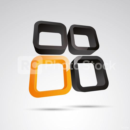 window frame 3d vector icon as logo formation in black and orange glossy colors, Corporate design. Vector illustration. Eps 10 vector file.  : Stock Photo or Stock Video Download rcfotostock photos, images and assets rcfotostock | RC-Photo-Stock.: