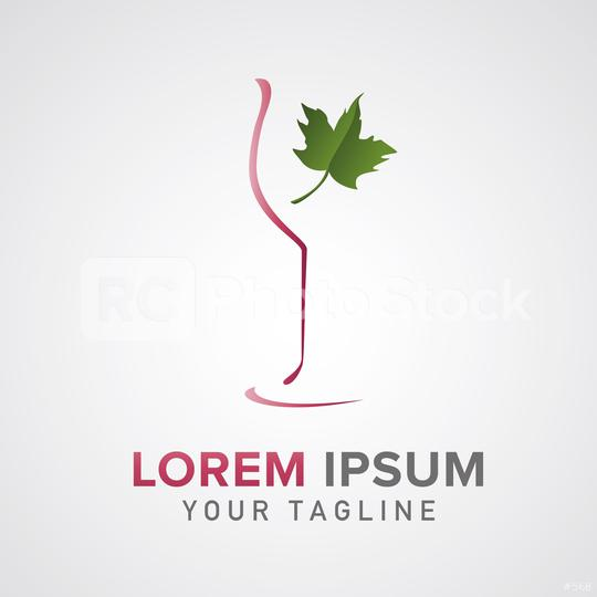 wine trade logo design wine glass with leaf. Red wine vintage design template. Corporate design. Vector illustration. Eps 10 vector file.  : Stock Photo or Stock Video Download rcfotostock photos, images and assets rcfotostock | RC-Photo-Stock.:
