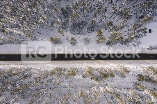 Winter snow covered pine forests and road with car bird