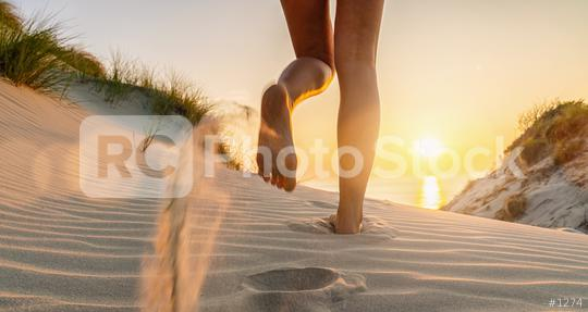 Woman runs towards to the Baltic Sea Beach at Sunset  : Stock Photo or Stock Video Download rcfotostock photos, images and assets rcfotostock | RC-Photo-Stock.: