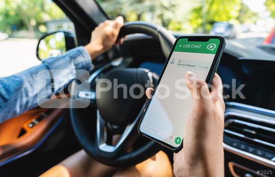 Woman use customer service and support live chat with chatbot and automatic messages or human servant in a car. Assistance and help with mobile phone app. Smartphone helpdesk for feedback cell.  : Stock Photo or Stock Video Download rcfotostock photos, images and assets rcfotostock | RC-Photo-Stock.:
