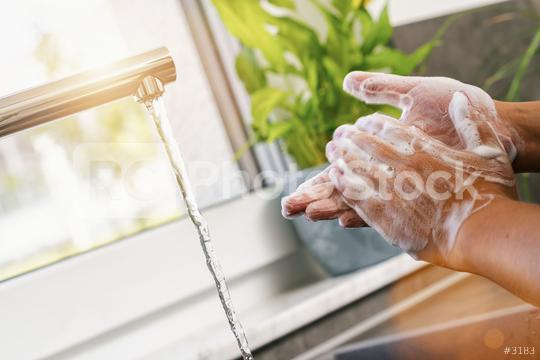 Woman washing of hands with soap under running water in the kitchen  : Stock Photo or Stock Video Download rcfotostock photos, images and assets rcfotostock   RC-Photo-Stock.: