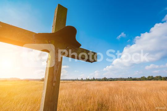 wooden cross religion symbol at a hiking trail in Belgium, Hohes Venn  : Stock Photo or Stock Video Download rcfotostock photos, images and assets rcfotostock | RC-Photo-Stock.: