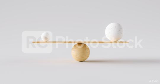 wooden scale balancing one big ball and one small ball. Concept of harmony and balance  : Stock Photo or Stock Video Download rcfotostock photos, images and assets rcfotostock | RC-Photo-Stock.: