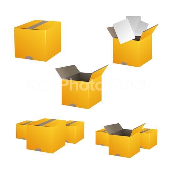 Yellow closed and open carton delivery packaging box set. Vector illustration. Eps 10 vector file.  : Stock Photo or Stock Video Download rcfotostock photos, images and assets rcfotostock | RC-Photo-Stock.: