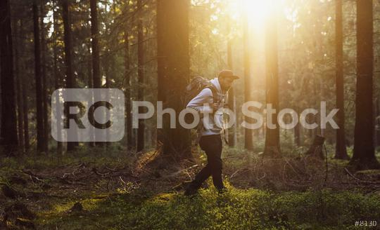 Young hiker trekking in a forest at sunny day  : Stock Photo or Stock Video Download rcfotostock photos, images and assets rcfotostock   RC-Photo-Stock.: