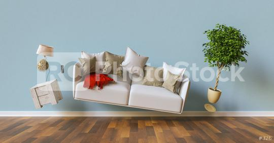 Zero gravity living room with hoovering sofa and furniture  : Stock Photo or Stock Video Download rcfotostock photos, images and assets rcfotostock | RC-Photo-Stock.: