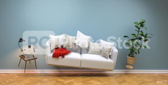Zero Gravity Sofa hovering in living room with furniture  : Stock Photo or Stock Video Download rcfotostock photos, images and assets rcfotostock | RC-Photo-Stock.: