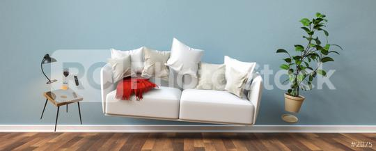 Zero Gravity Sofa hovering in living room with furniture banner size  : Stock Photo or Stock Video Download rcfotostock photos, images and assets rcfotostock | RC-Photo-Stock.: