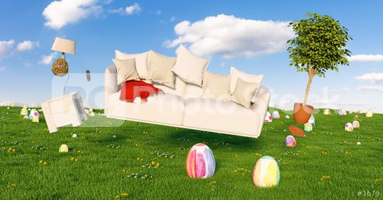 Zero Gravity Sofa hovering over many colorful painted Easter eggs on a meadow with furniture at sunset  : Stock Photo or Stock Video Download rcfotostock photos, images and assets rcfotostock | RC-Photo-Stock.: