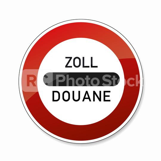 Zoll Douane road sign. EU or German sign at a toll station. Zoll and Douane both mean toll in english on white background. Vector illustration. Eps 10 vector file.  : Stock Photo or Stock Video Download rcfotostock photos, images and assets rcfotostock | RC-Photo-Stock.: